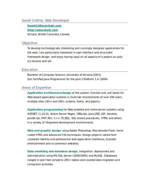 fresher resume sample