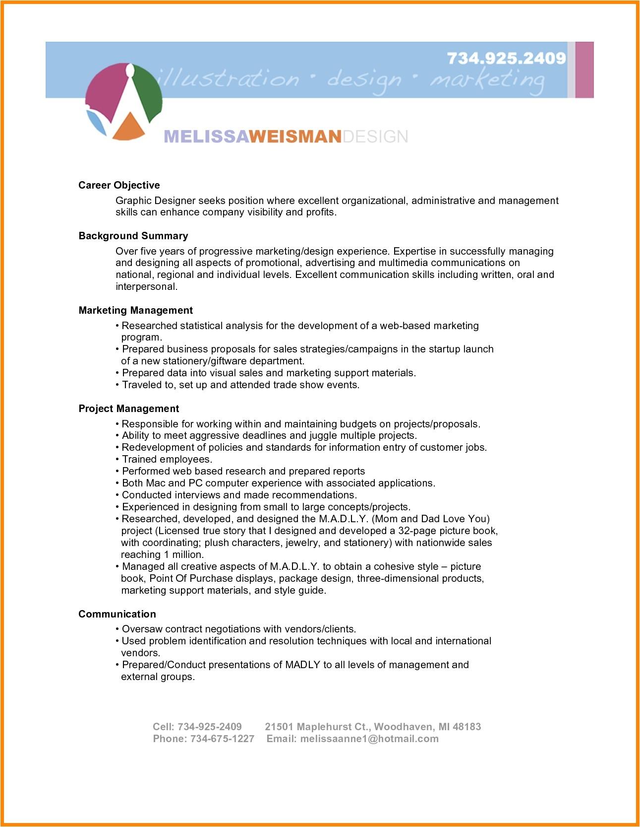 sample resume for graphic designer fresher