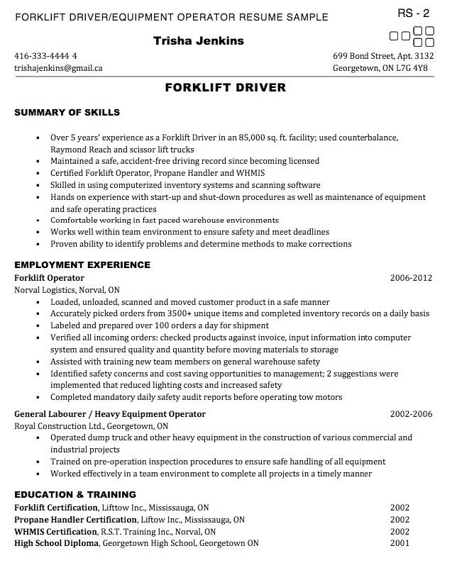 resume of forklift operator
