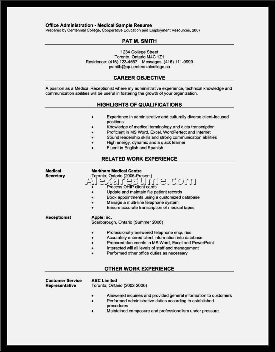 Sample Resume Objectives for Medical Receptionist Examples Of A Medical Receptionist Resume Resume