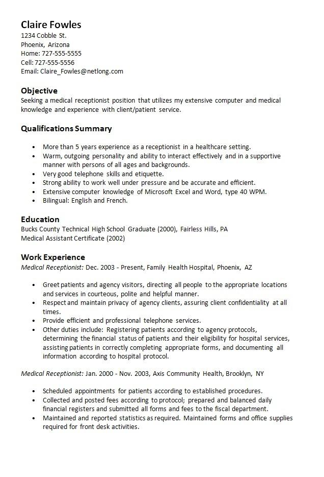 sample resume medical receptionist