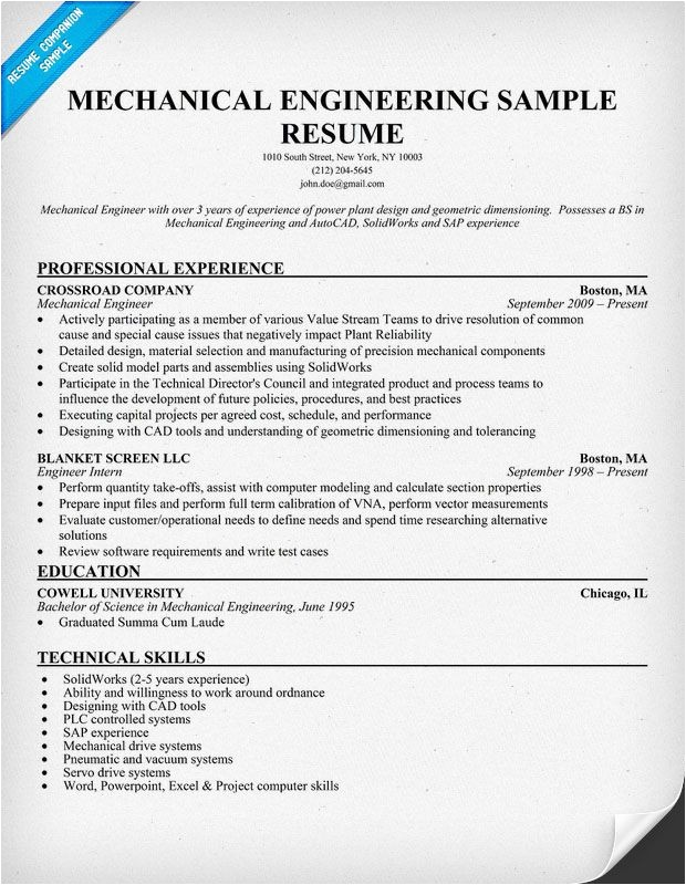 Sample Resume Of A Mechanical Engineer Mechanical Engineering Resume Sample Resumecompanion Com