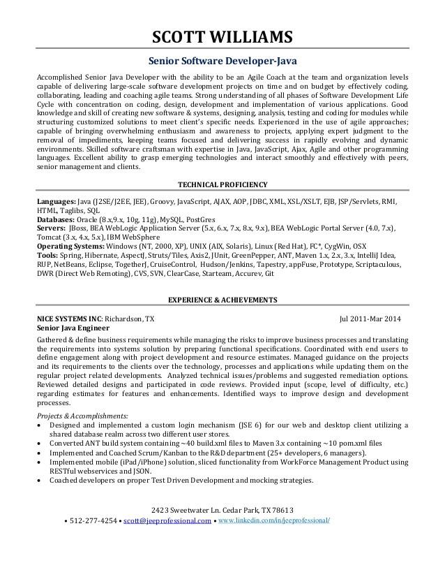 sample resume senior software engineer