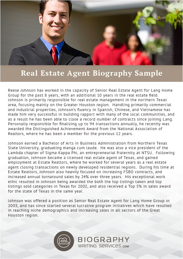 write an outstanding real estate agent biography