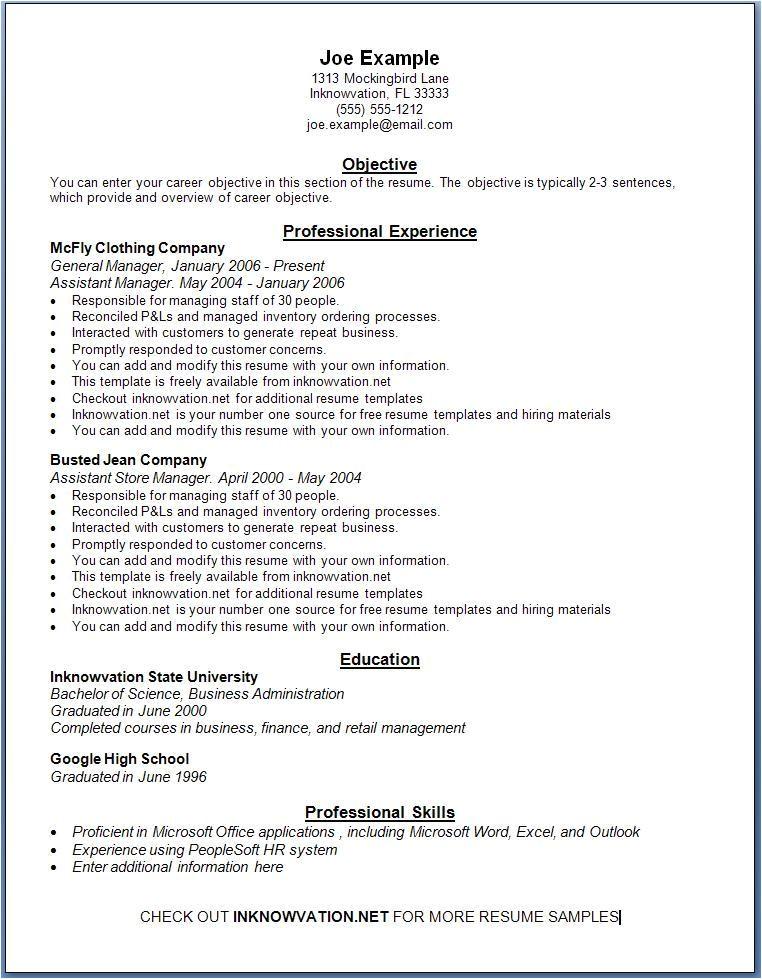 free resume samples online