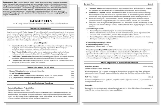 sample resume for a worker with an employment gap