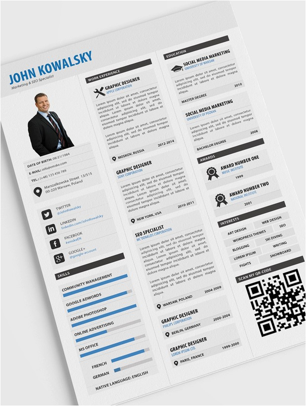 Sample Resume with Qr Code Professional Resume Template Psd Pdf