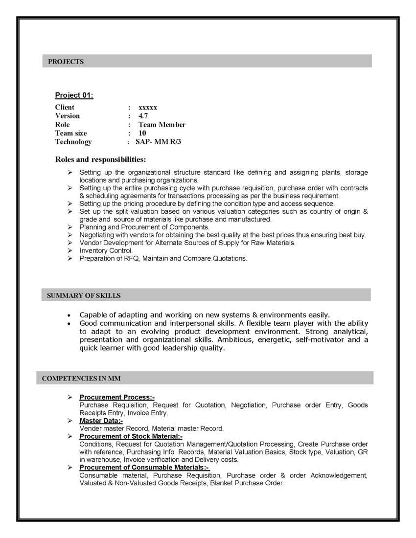 Sample Resume with Sap Experience Sap Mm Materials Management Sample Resume 10 00 Years