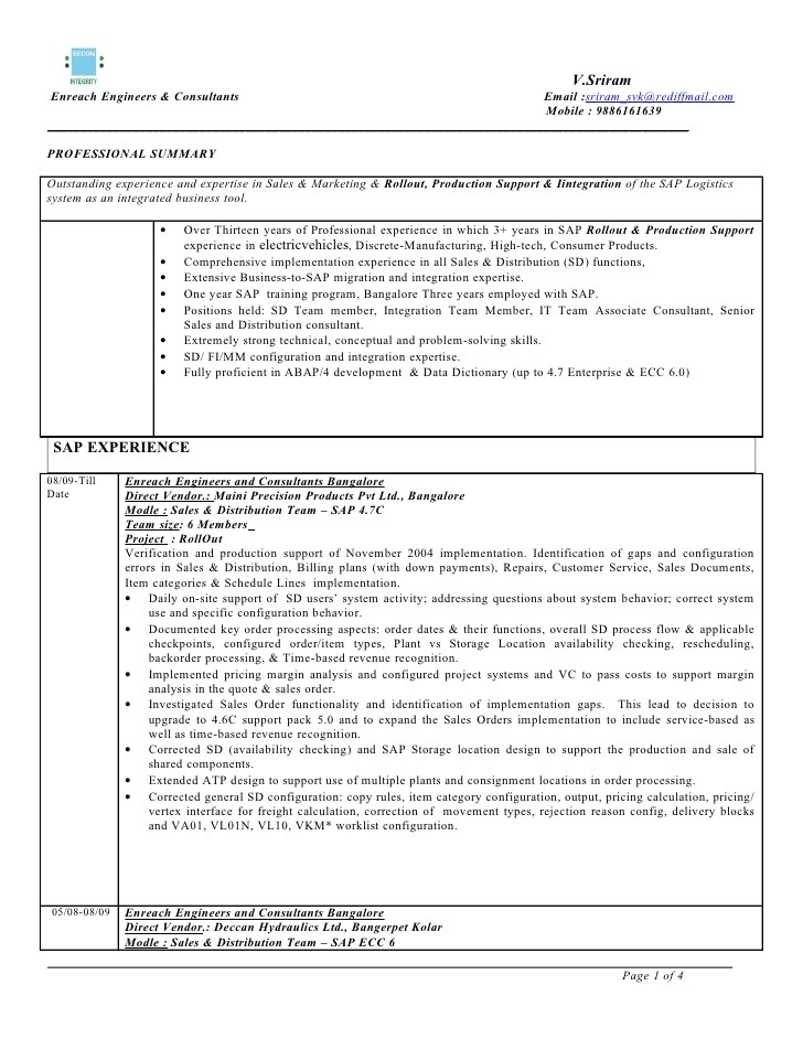 Sample Resume with Sap Experience Sap Sd 3 Years