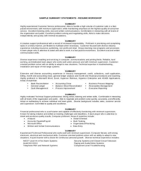 Sample Resume with Summary Statement 8 Resume Summary Samples Examples Templates Sample