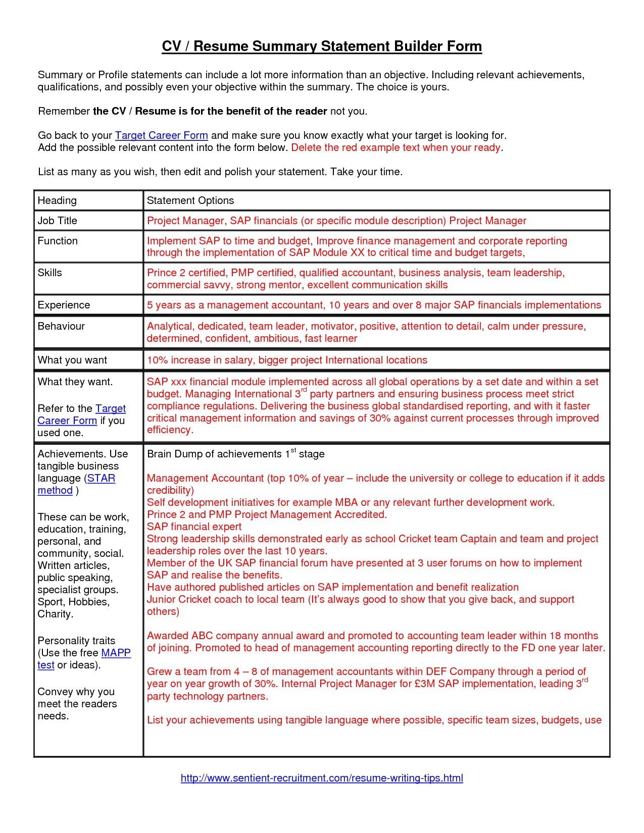 Sample Resume with Summary Statement Summary Statement On Resume Resume Ideas