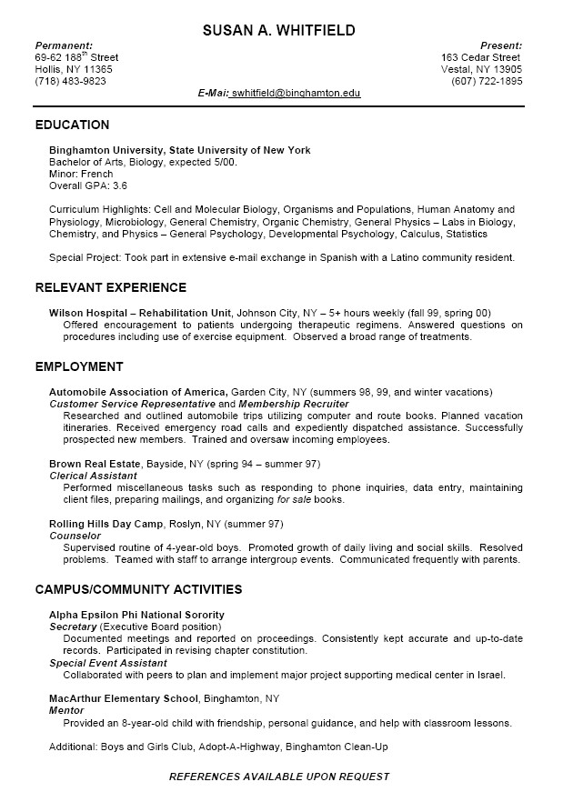 Sample Resumes for College Students Best Resume Samples for Students In 2016 2017 Resume 2018