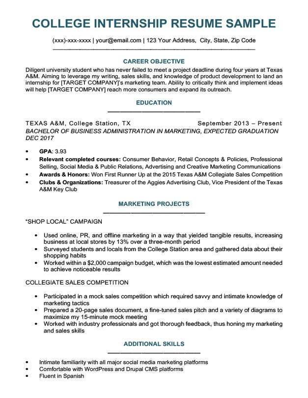Sample Resumes for College Students College Student Resume Sample Writing Tips Resume