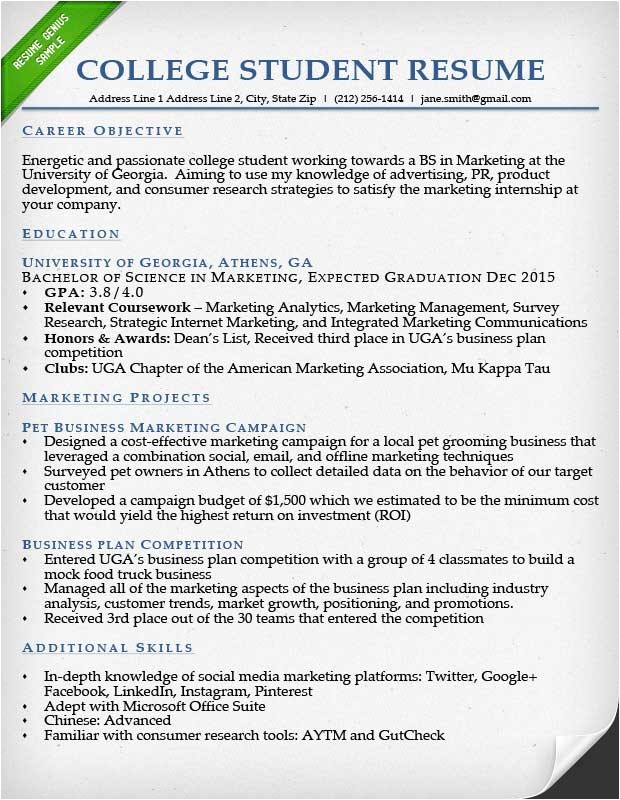 Sample Resumes for College Students Internship Resume Samples Writing Guide Resume Genius