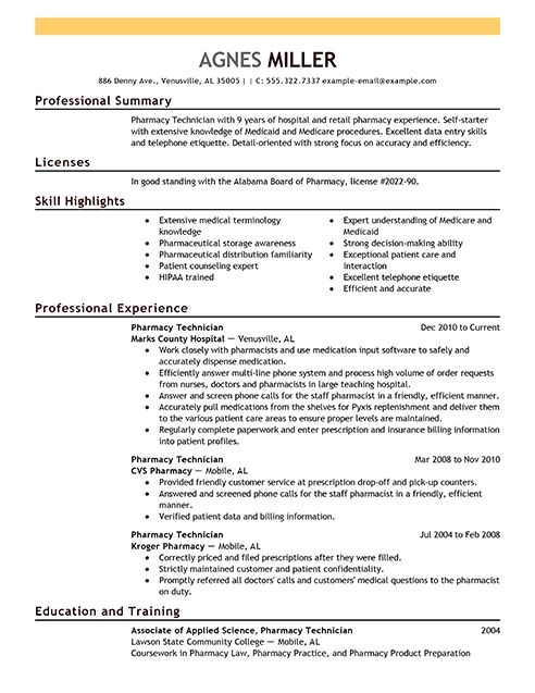 Sample Resumes for Pharmacy Technicians Pharmacy Technician Resume Examples Medical Sample
