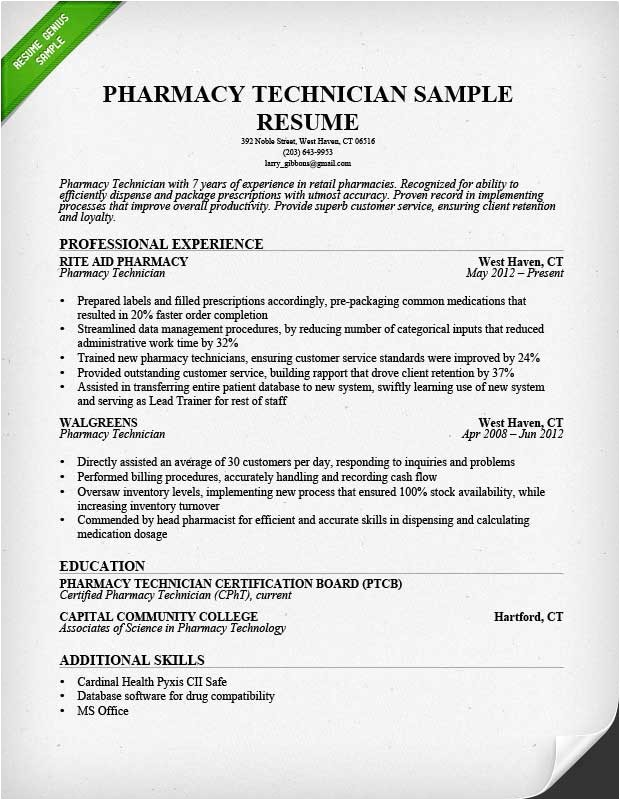 Sample Resumes for Pharmacy Technicians Pharmacy Technician Resume Sample Writing Guide
