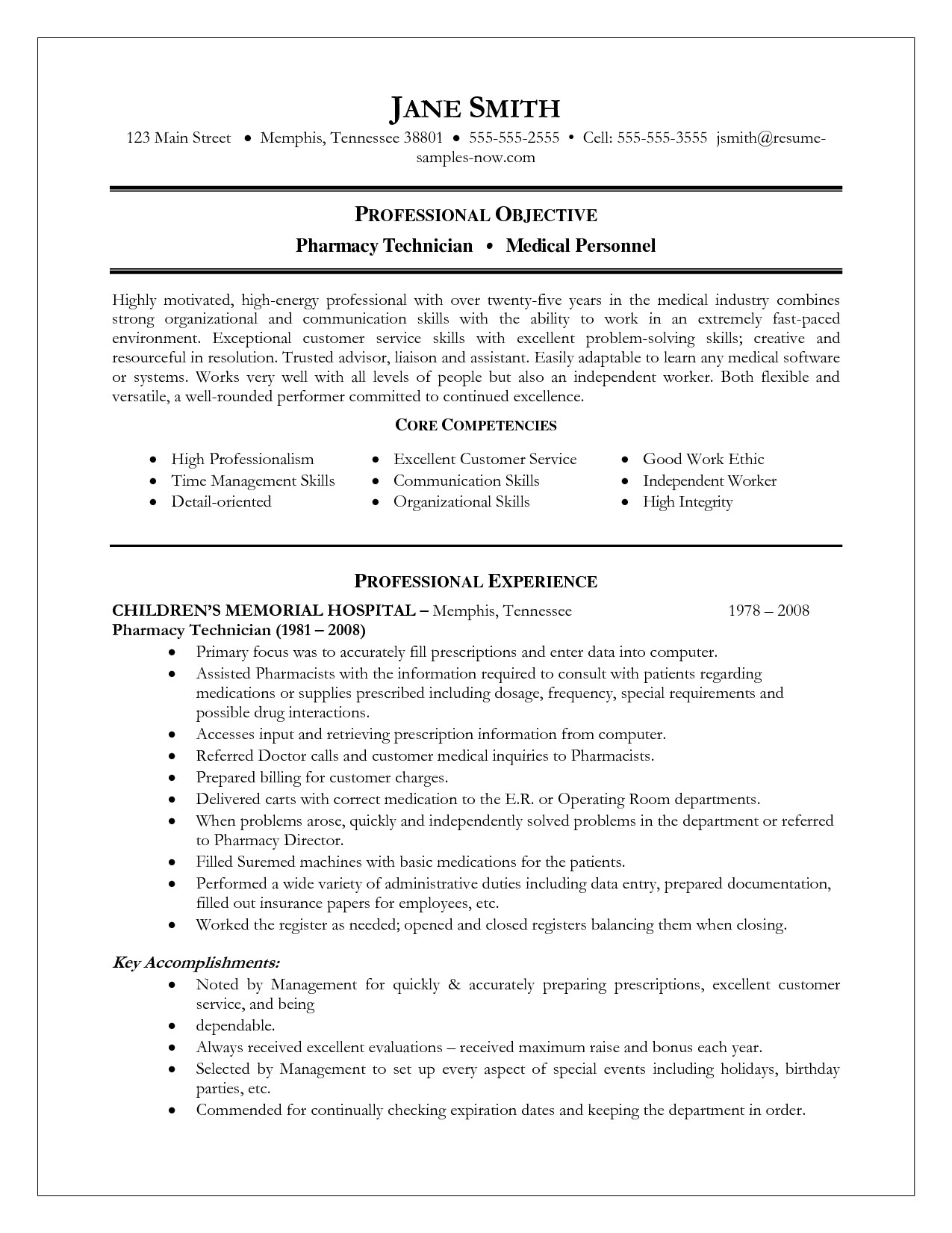 Sample Resumes for Pharmacy Technicians Resume Example Pharmacy Technician Examples format for