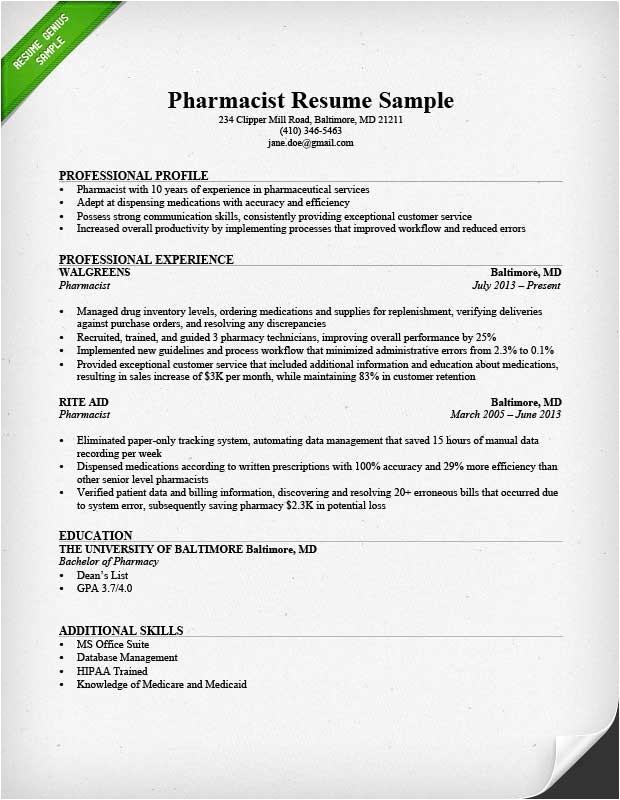 sample of pharmacy technician resume
