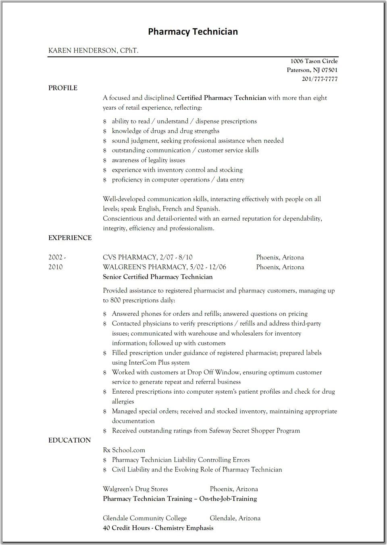 sample resume for pharmacy technician