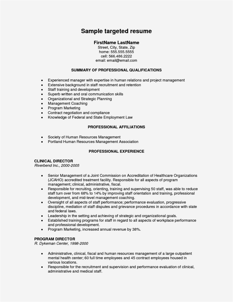examples of targeted resumes