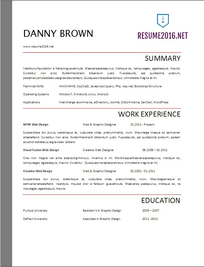 Samples Of Resumes 2017 Resume format 2017 20 Free Word Templates