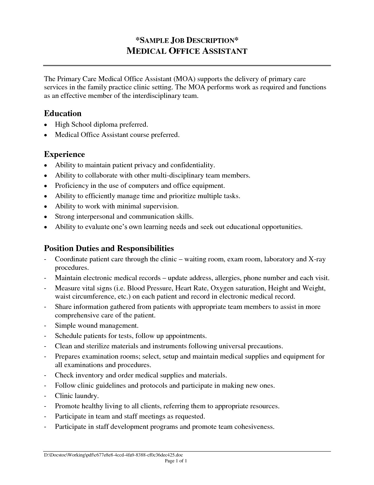 Samples Of Resumes for Administrative assistant Positions Administrative assistant Job Description for Resume