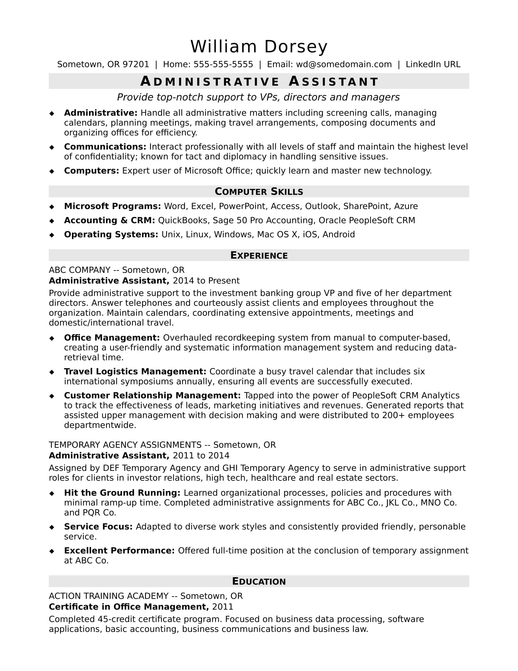 sample resume administrative assistant midlevel