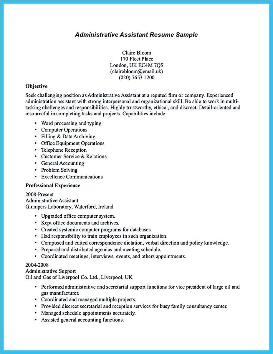 sample make administrative assistant resume