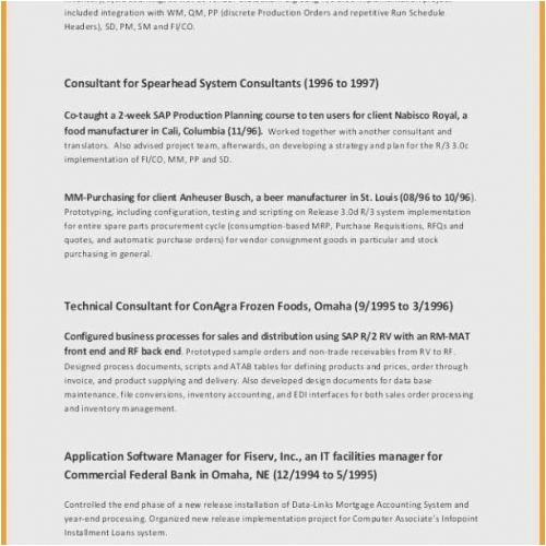 Sap Pp End User Resume Sample Beautiful Production Planning Resume Sap Component