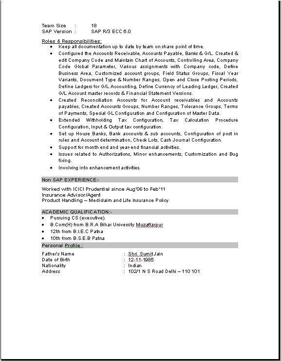 Sap Pp End User Resume Sample Sap Fico Consultant Resume Download