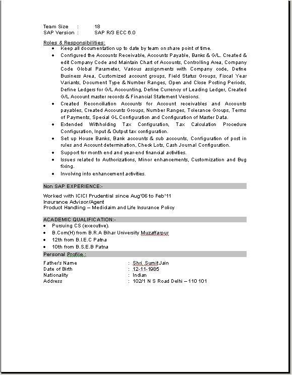 sap fico consultant resume download