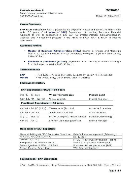 sap pp resume