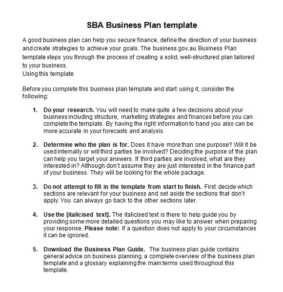 Sba Business Plan Template Doc Sample Sba Business Plan Template 9 Free Documents In