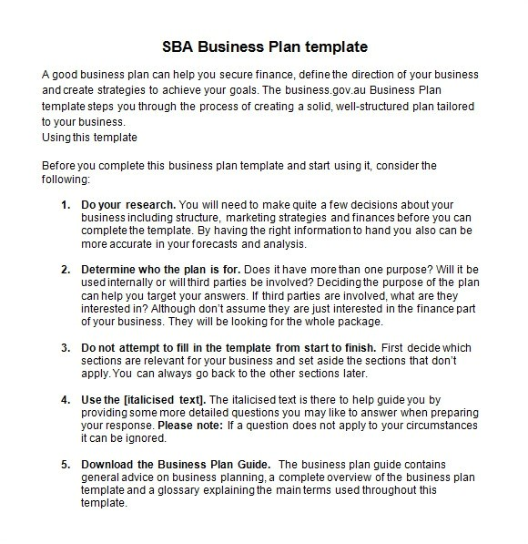 sba business plan template