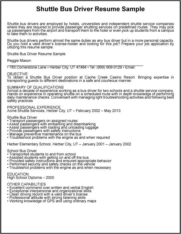 shuttle bus driver resume sample