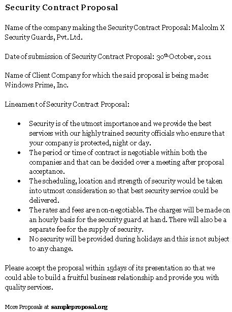 Security Guard Proposal Template 10 Best Images Of Simple Security Guard Services Sample