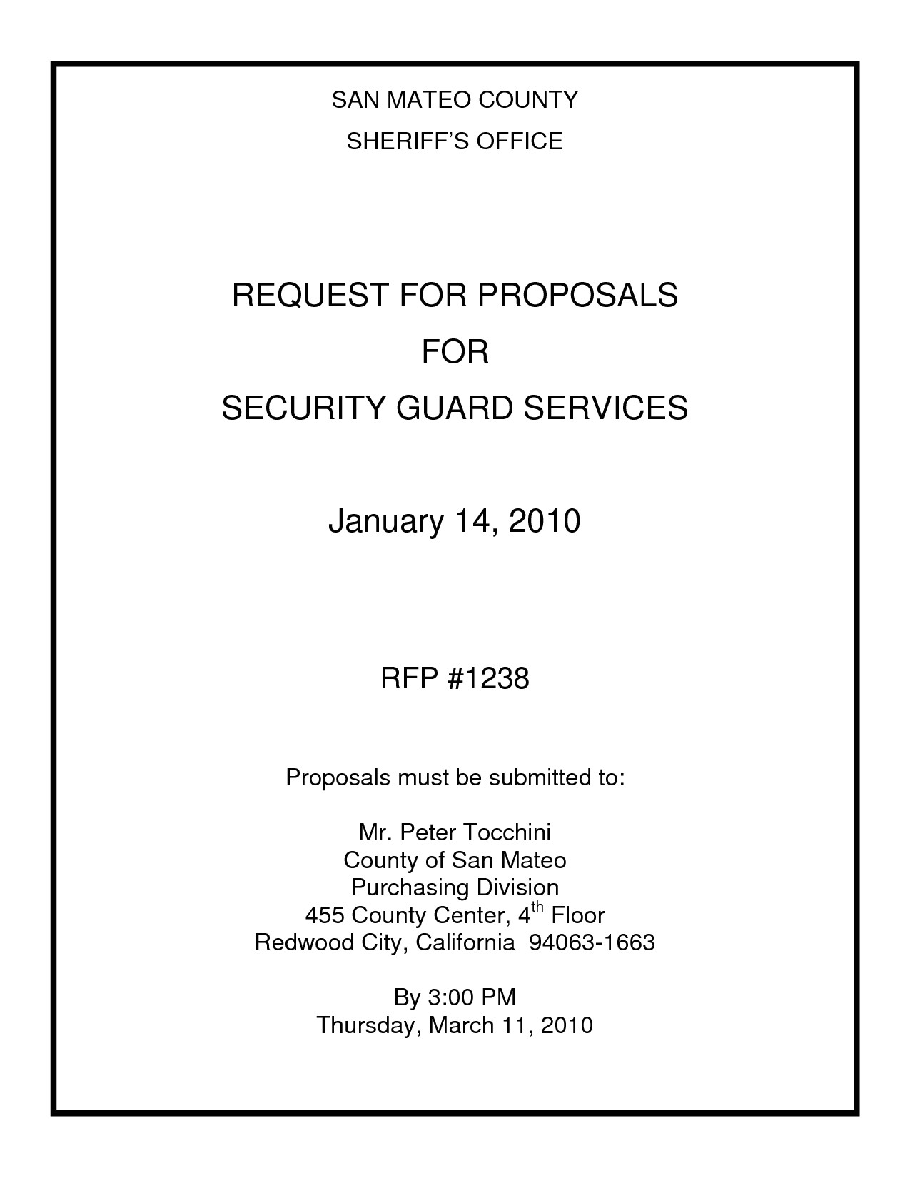 Security Guard Proposal Template Gallery Of Security Guard Contract Proposal