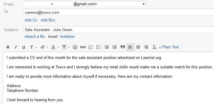 emailing resume sample
