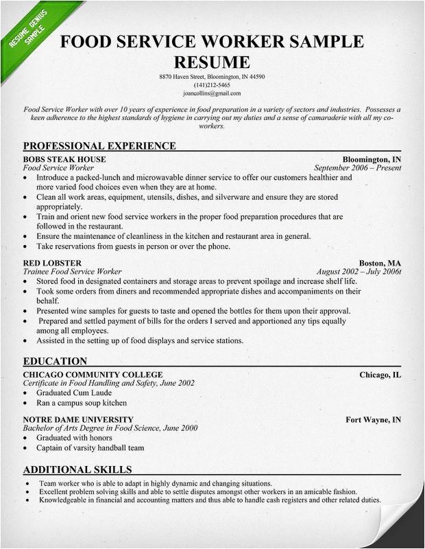 food service industry resume sample