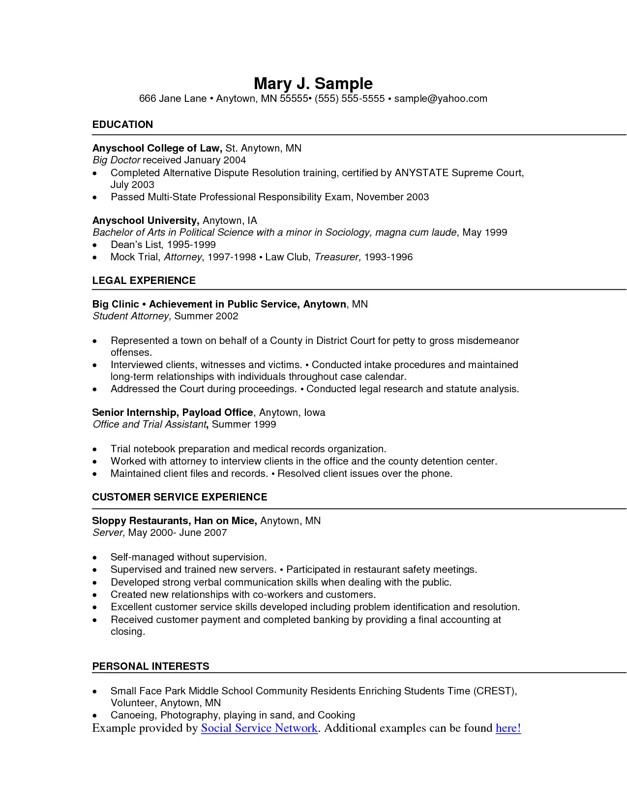 Service Industry Resume Template One Page Functional Resume Example Resume Objective