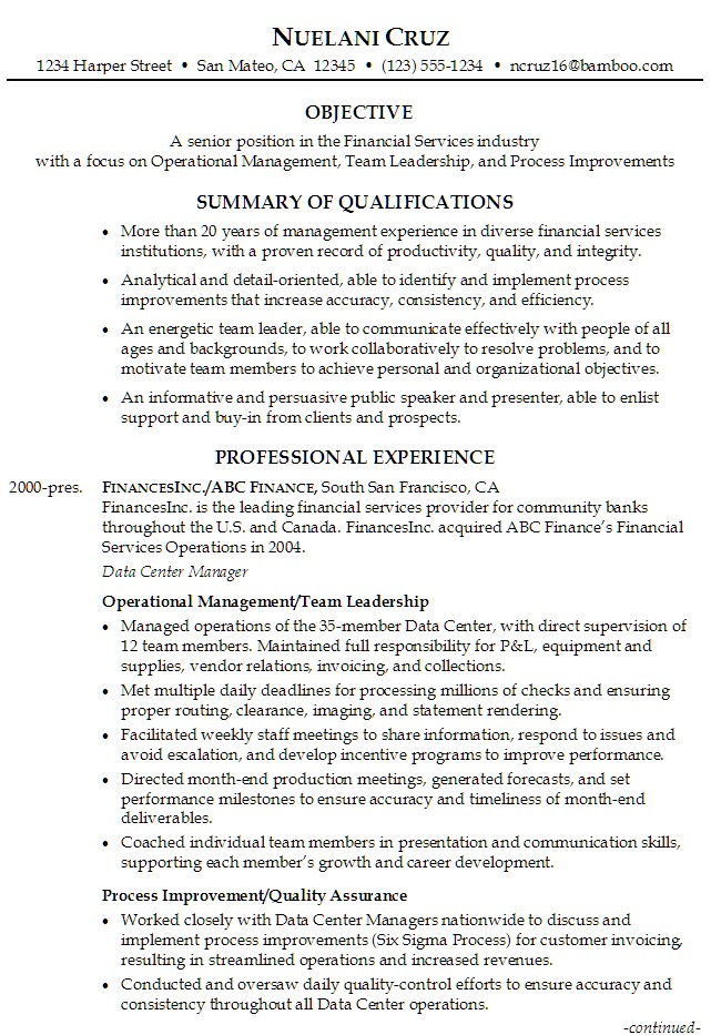 senior position in the financial services industry