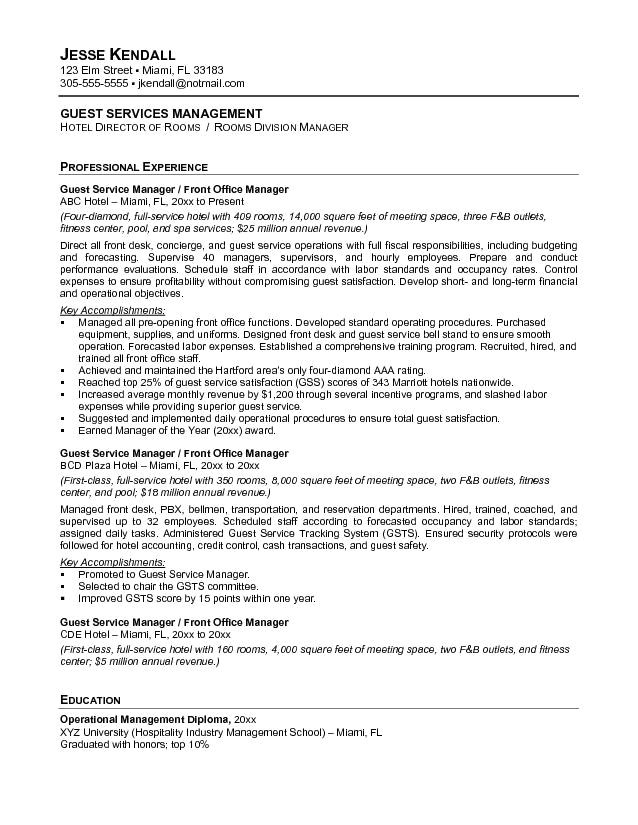 service industry resume