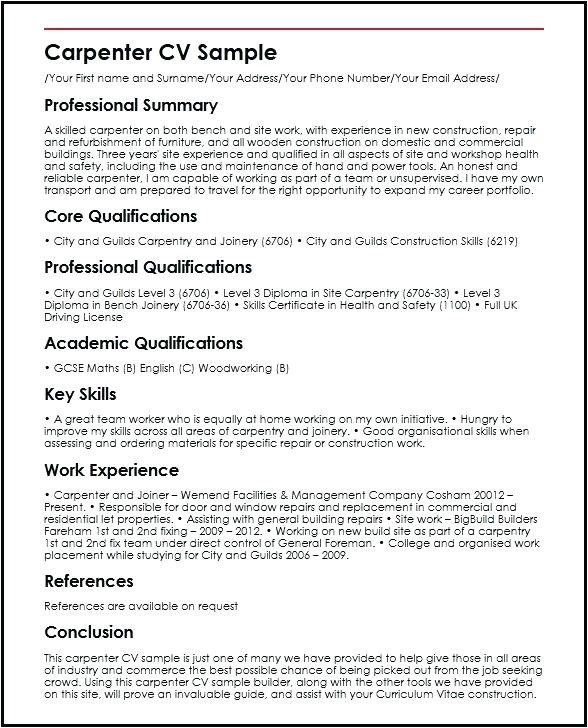 shidduch resume carpenter sample template