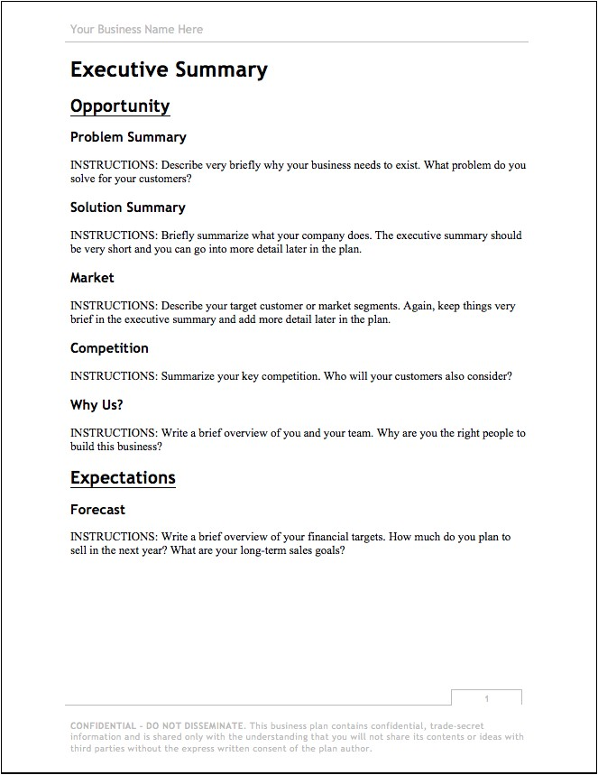 Short form Business Plan Template Business Plan Template Free Download Bplans