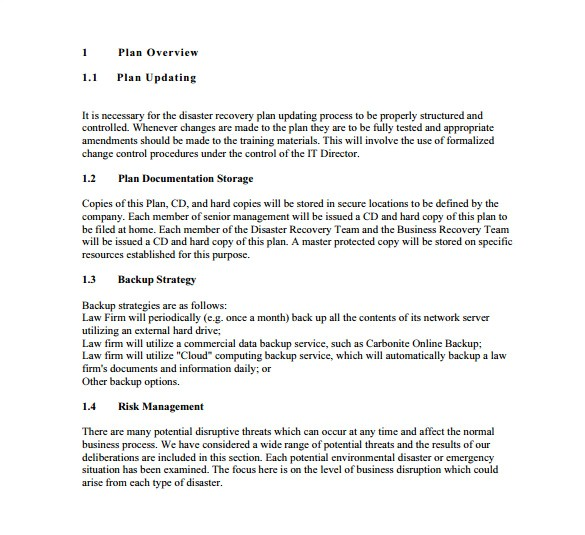 Simple Disaster Recovery Plan Template for Small Business 13 Disaster Recovery Plan Templates Free Sample
