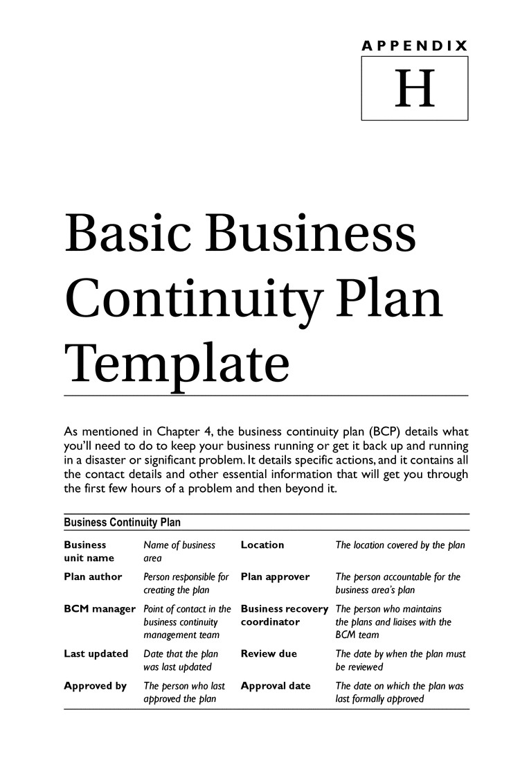 Simple Disaster Recovery Plan Template for Small Business Business Continuity Plan Template Tryprodermagenix org