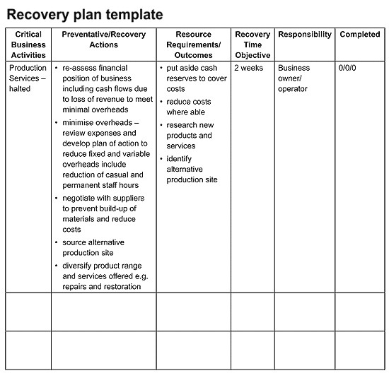 Simple Disaster Recovery Plan Template for Small Business Recovering From A Disaster Will Test Any Manager or Owner