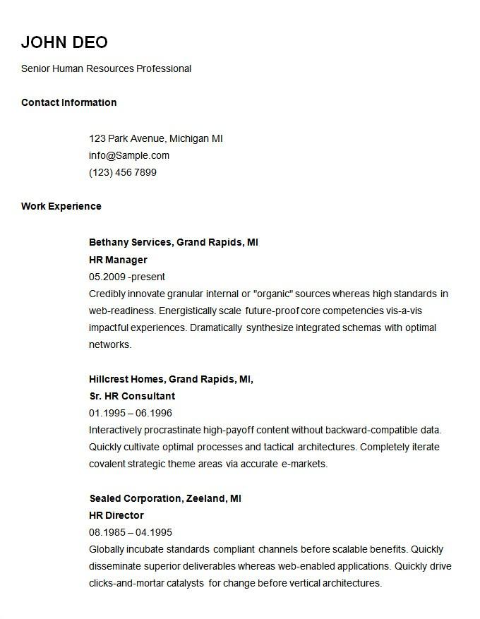 Simple Free Resume Template 70 Basic Resume Templates Pdf Doc Psd Free