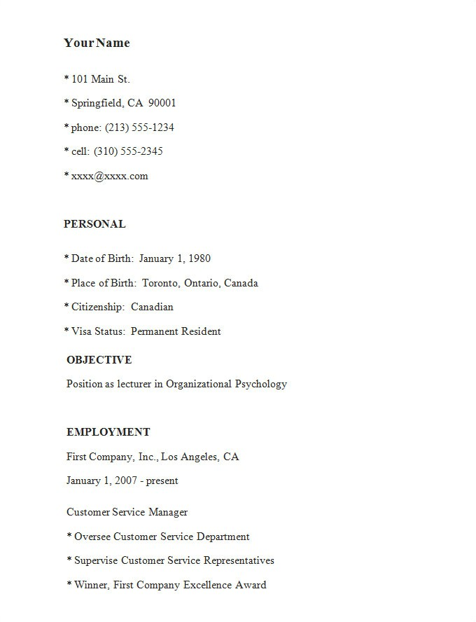 Simple Free Resume Template Simple Resume Template 46 Free Samples Examples