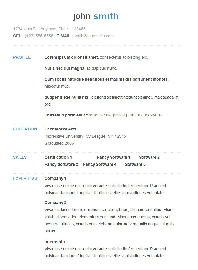 Simple Resume Template Download 70 Basic Resume Templates Pdf Doc Psd Free